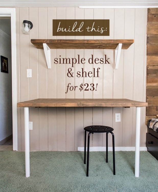 10. Simple DIY Wall Mounted Desk via Simphome