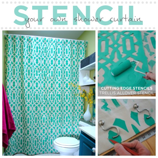 7. Stenciled Shower Curtain via Simphome