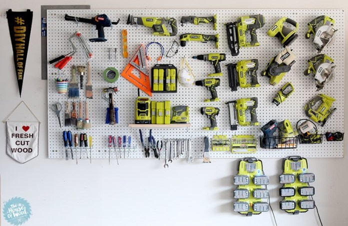 6. Pegboard Storage Idea via Simphome.com