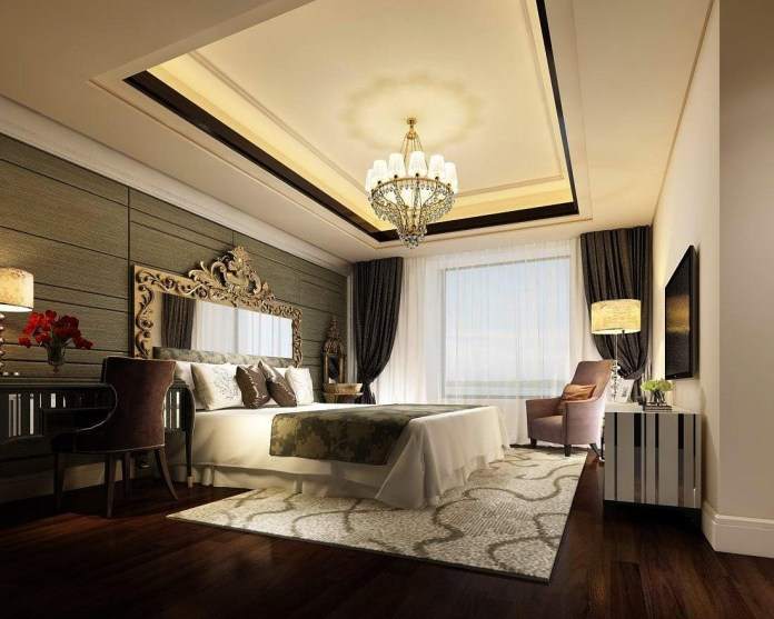 1.SIMPHOME.COM.Luxurious Bedroom with a Chandelier
