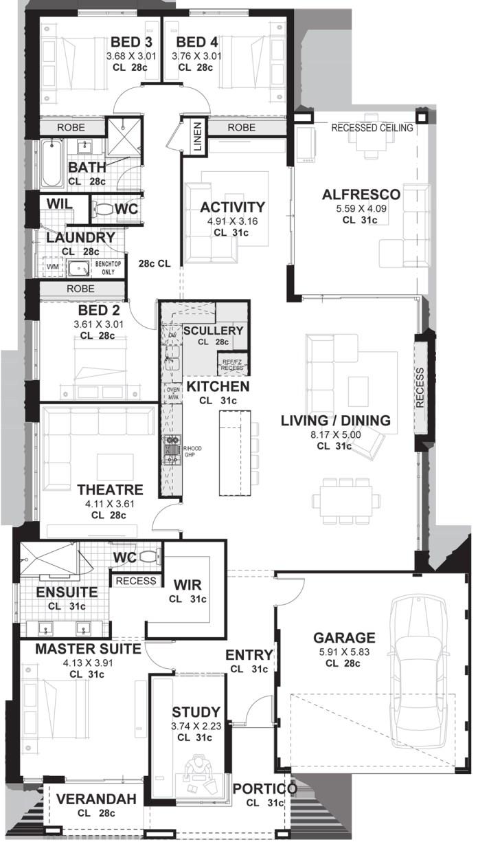 13.SIMPHOME.COM 4 bedroom house plans home designs perth vision one homes
