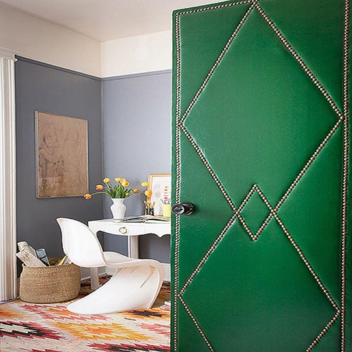 3.Upholstered your door with the nailed trim via SIMPHOME.COM