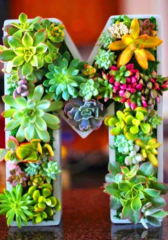 2. Simphome.com Letter Succulent garden idea