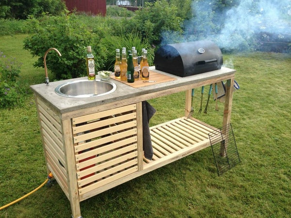5.Simphome.com Wooden Grill with Concrete Countertop project idea