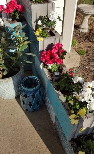 6.Simphome.com Stencilled Cinder Block Flower Bed