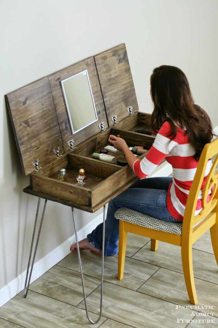 10.Simphome.com Rustic dressing table with Hairpin Legs