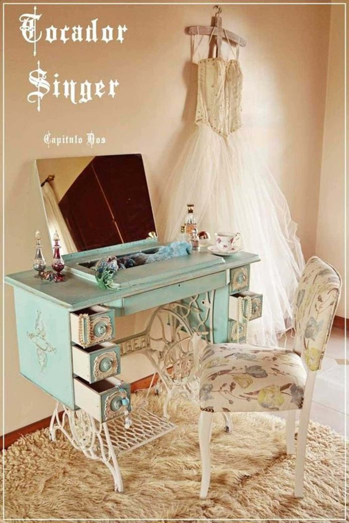 6. Turn an Old Sewing Machine into a Chic Dressing Table By Simphome.com