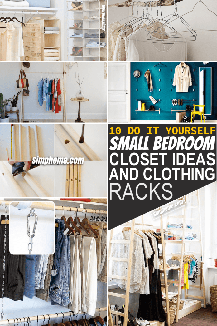 Simphome.com 10 DIY small bedroom closet ideas and clothing racks Featured Image