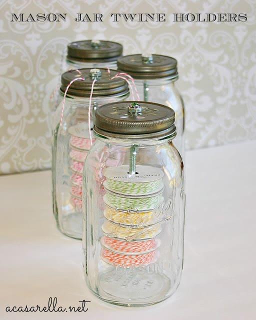 10.Simphome.com Mason Jar Twine Holders