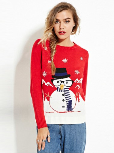 Red Crew Neck Long Sleeves Snowman Printed Cute Christmas Sweaters