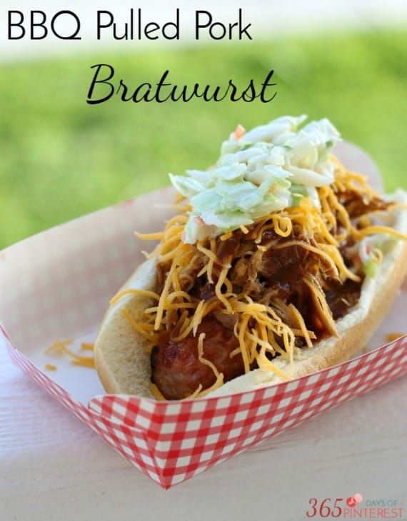 Try something different for your next BBQ and make BBQ pulled pork bratwurst instead of a boring hot dog! The crunchy slaw pulls it all together!