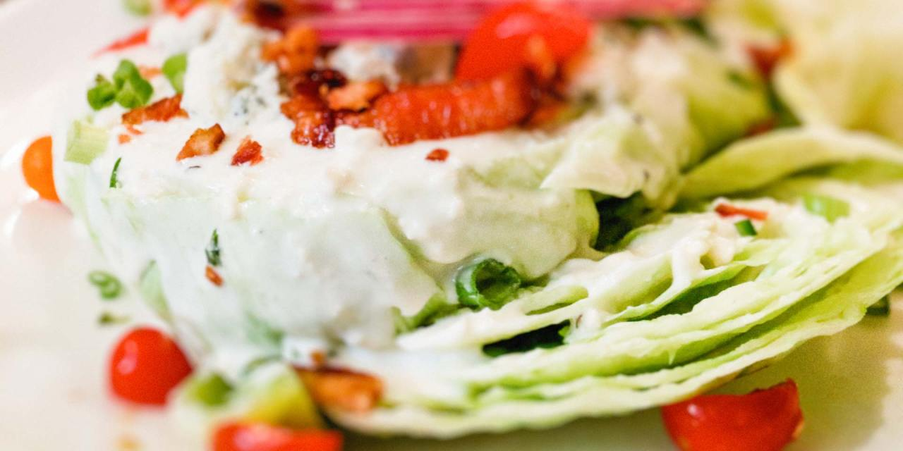 Iceberg wedge salad with blue cheese and crispy bacon