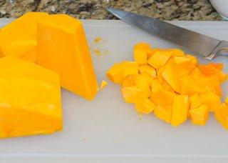 Peeled raw butternut squash