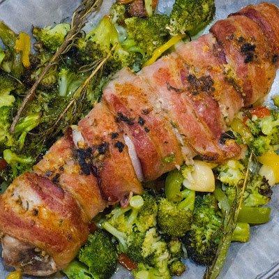 Bacon Wrapped Pork Tenderloin with Broccoli