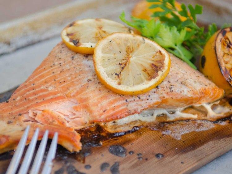 Salmon on a Cedar Plank with Lemons