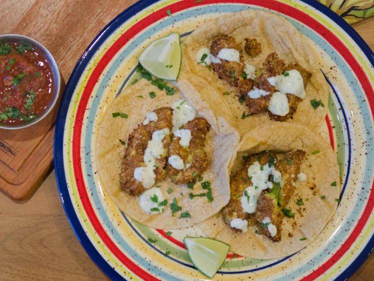 Air Fried Avocado Street Tacos with Cilantro Crema