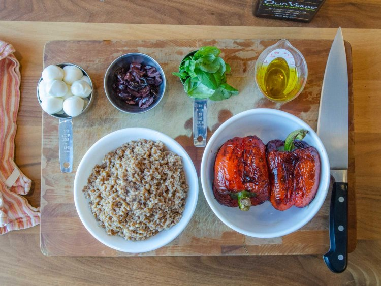 Prep for making wheat berry  roasted red pepper salad
