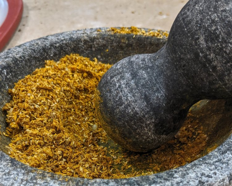Shawarma Spices in a Mortar