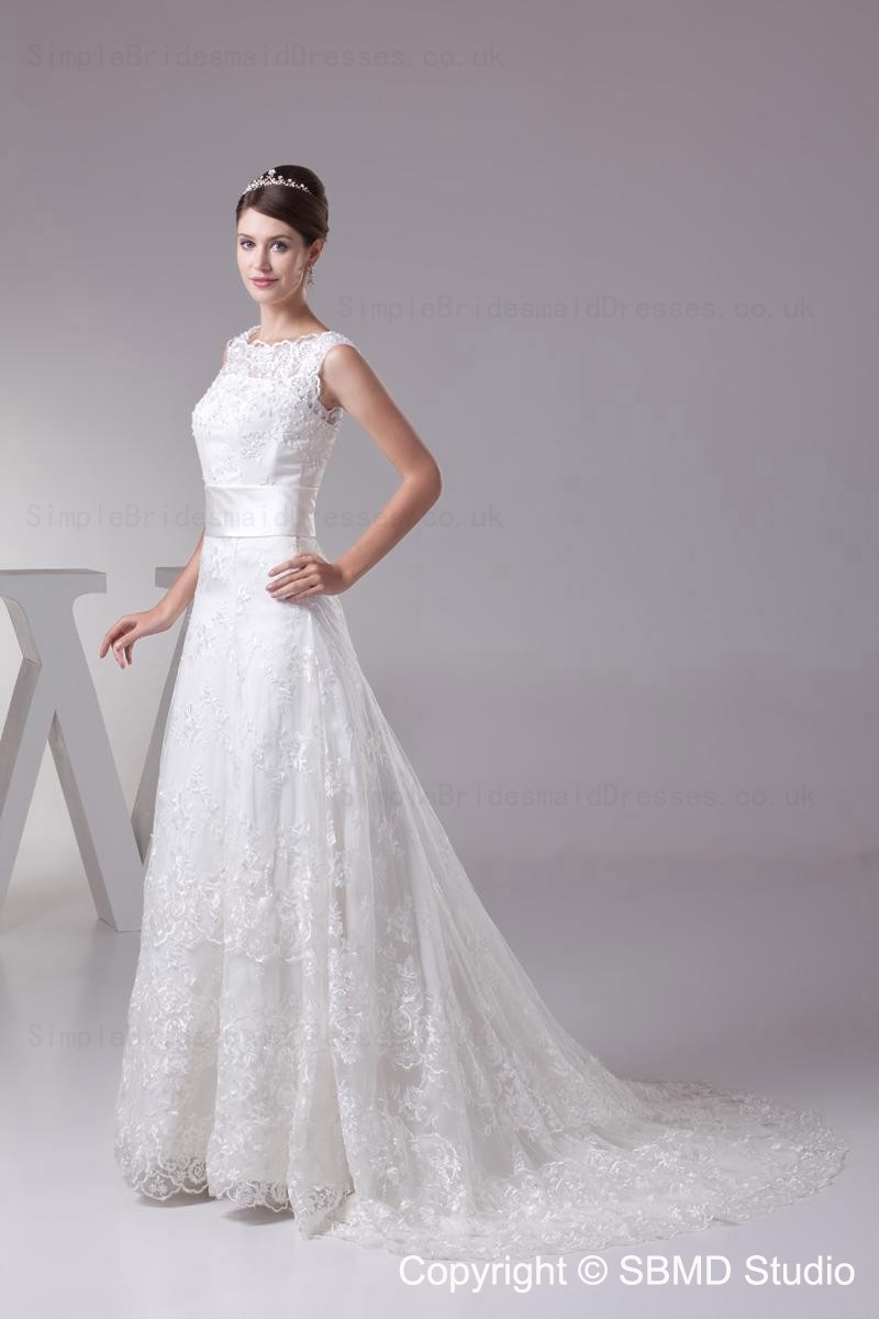 Lace Bateau Lace Up A Line Empire Wedding Dress