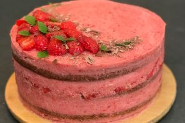 Carrot and strawberry cake with three layers