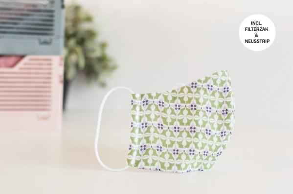 Mondkapje bloemetjes groen,wit,lila