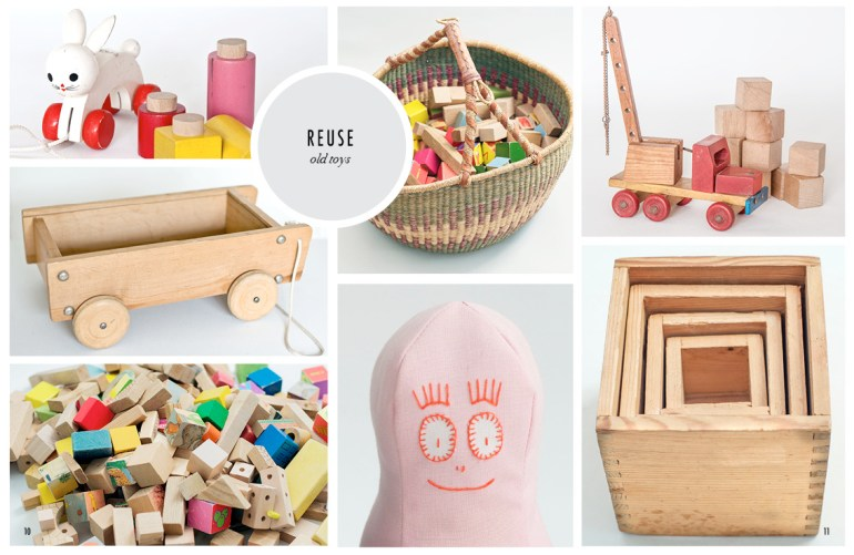 Old wooden toy, wooden blocks
