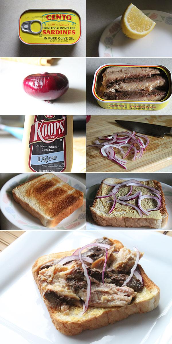 How to make a sardine and onion sandwich
