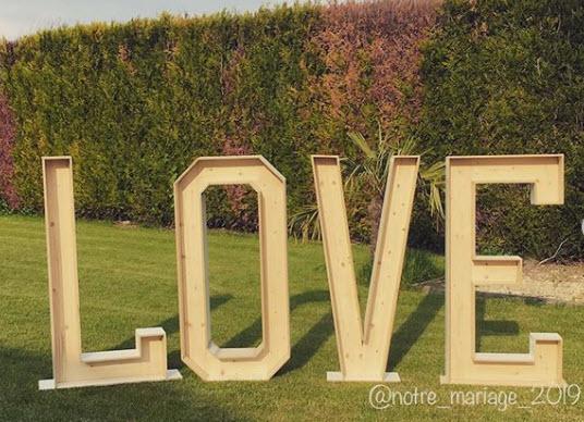 grandes lettres en 3D bois notre_mariage_2019