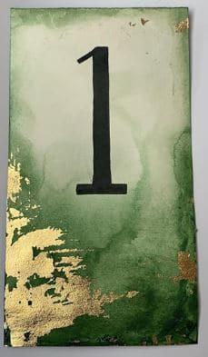 marque-tables aquarelle et feuilles d'or (2)