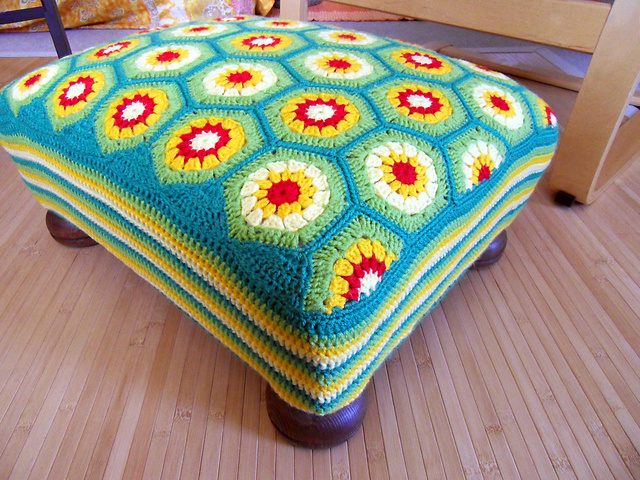 How To Diy Simple Crochet Hexagon Footstool Cover