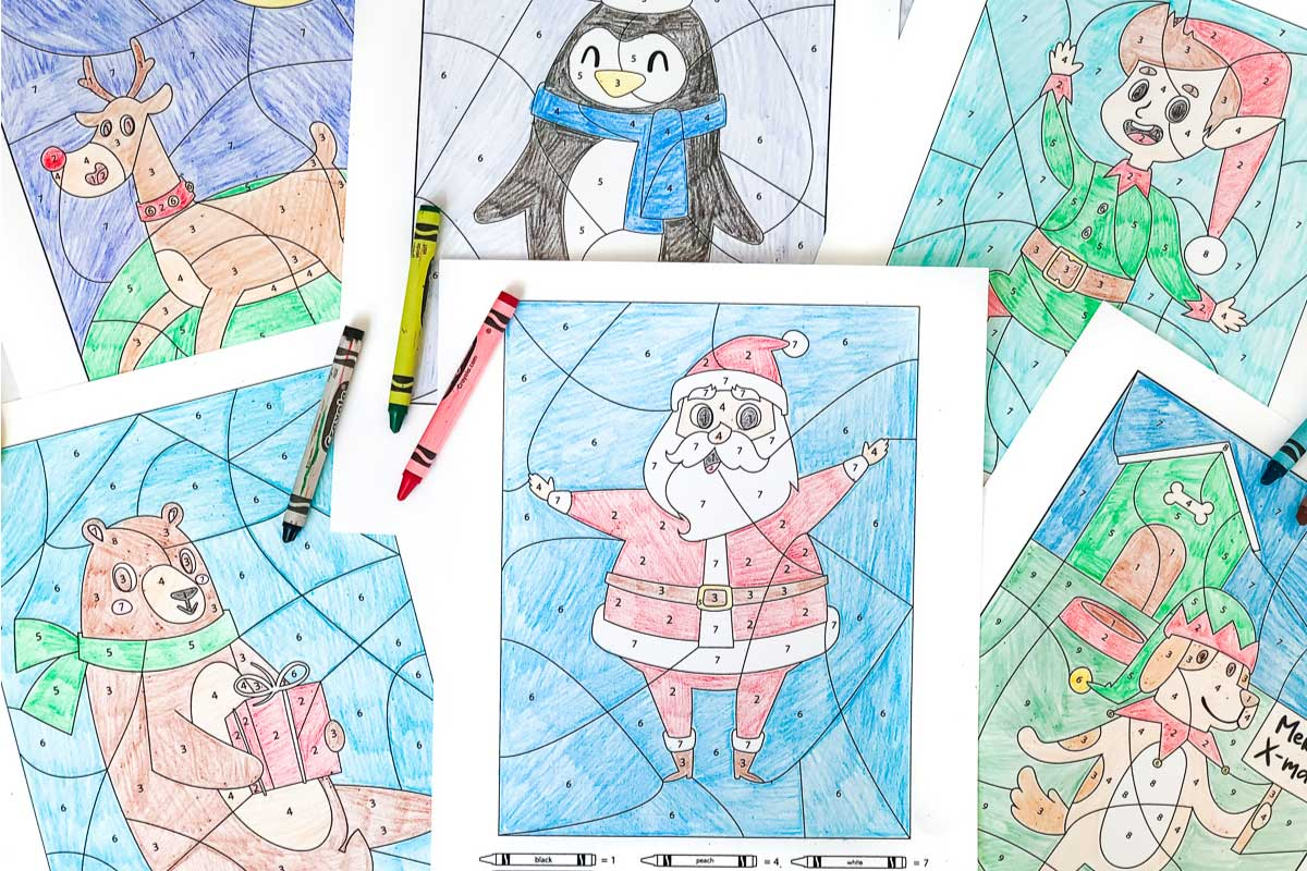 Christmas Color By Number Worksheets For Kids