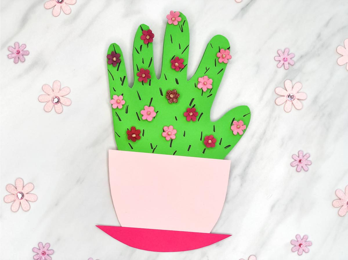 Handprint Cactus Diy Mother S Day Card
