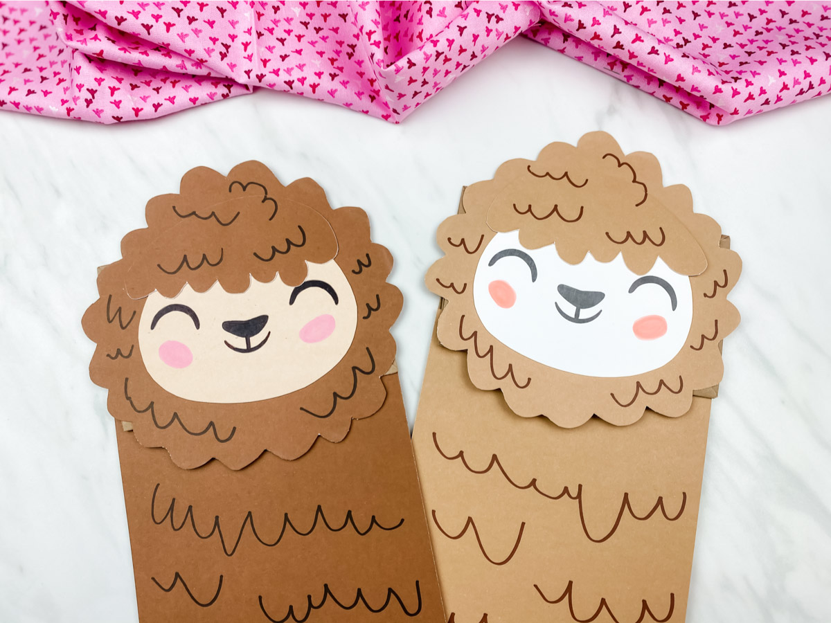 Cute Llama Paper Bag Puppet Craft
