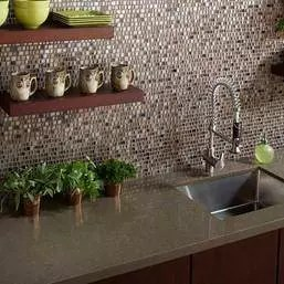 Tile quartz counter top and backsplash
