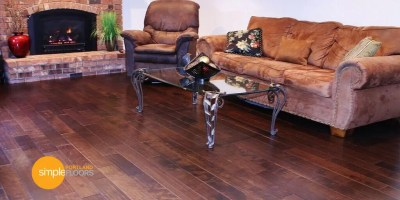 cocoa brown Hardwood Floor family room