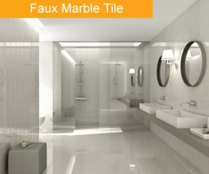 Faux Marble Tile Trend Bathroom tile