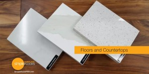 high contrast hardwood floor and countertops