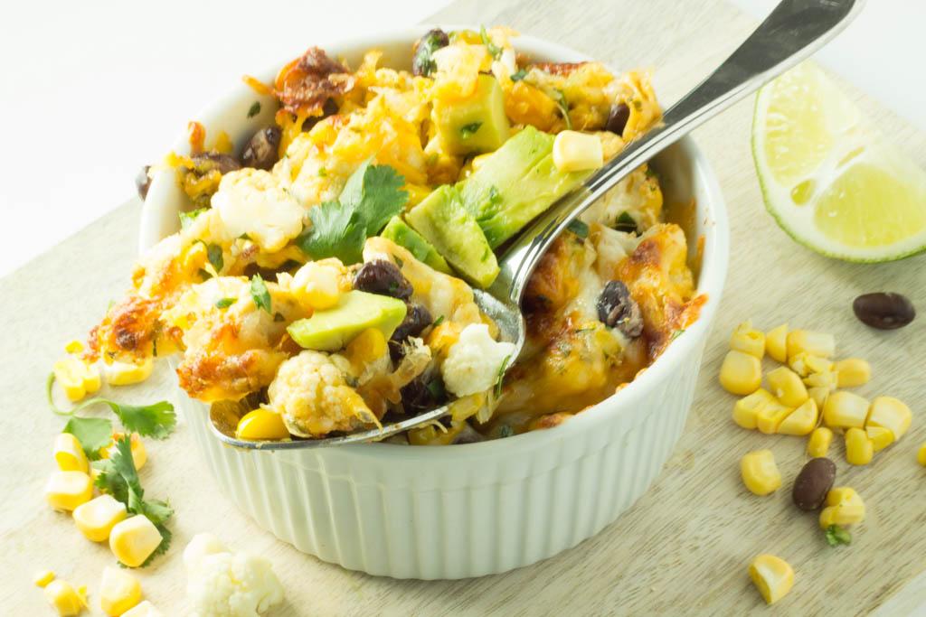 tex mex cauliflower with spoon