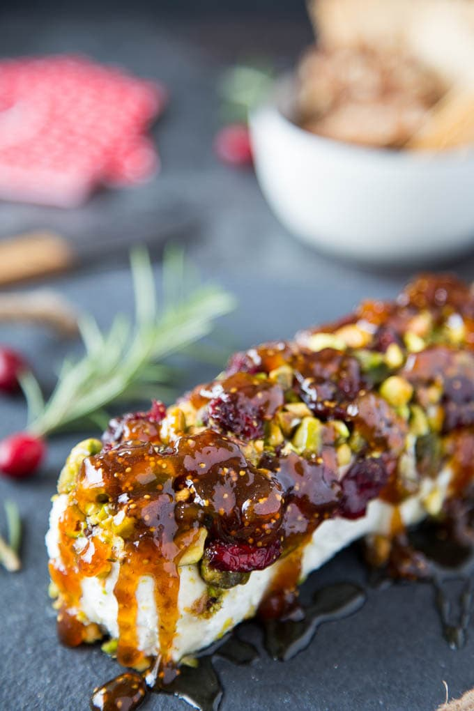 Goat Cheese with Honey, Fig & Pistachios