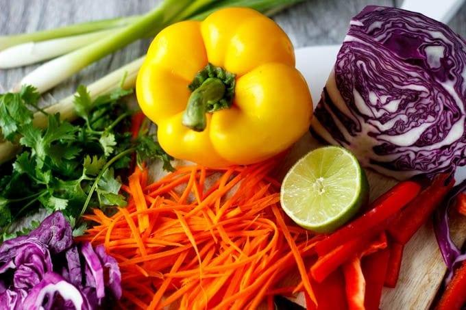 veggies for one pot peanut noodles