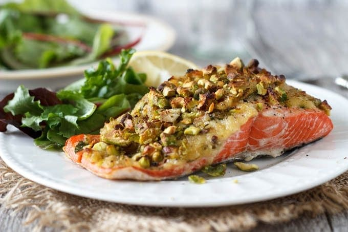 pistacio crusted salmon- simplehealthykitchen.com