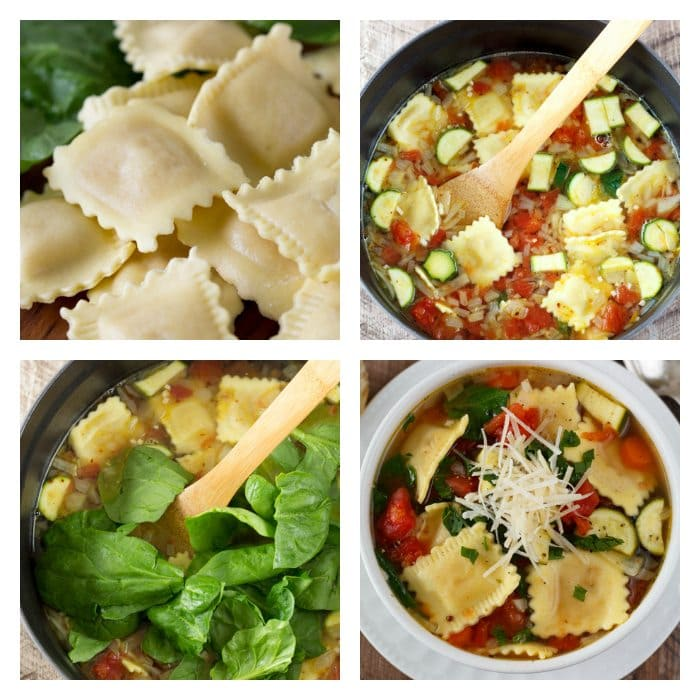 Ravioli Soup- A quick, one pot dinner idea the whole family will love. Healthy fresh vegetable soup gets kicked up a notch with the addition of fresh ravioli. A hearty filling meal that won't break the bank. | SimpleHealthyKitchen.com