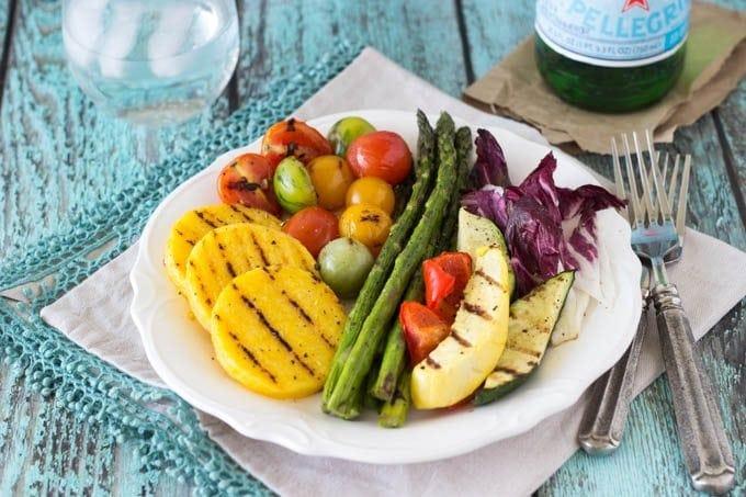 grilled polenta + veggies - simplehealthykitchen.com