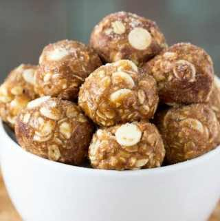White Chocolate Cinnamon Roll Energy Bites