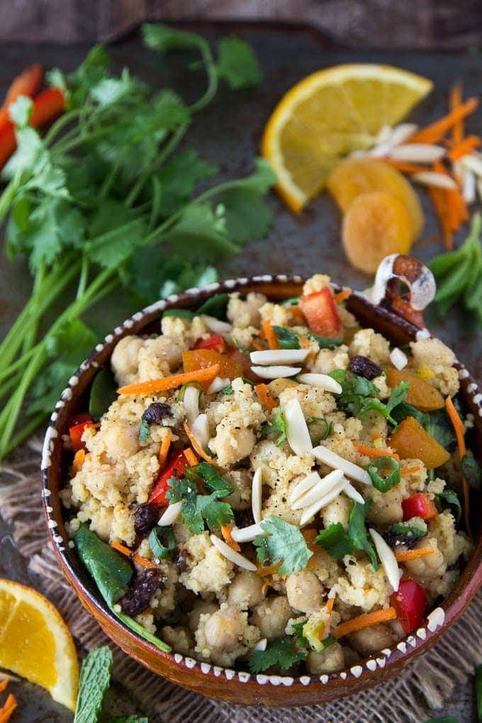 Healthy Moroccan Couscous with Chickpeas