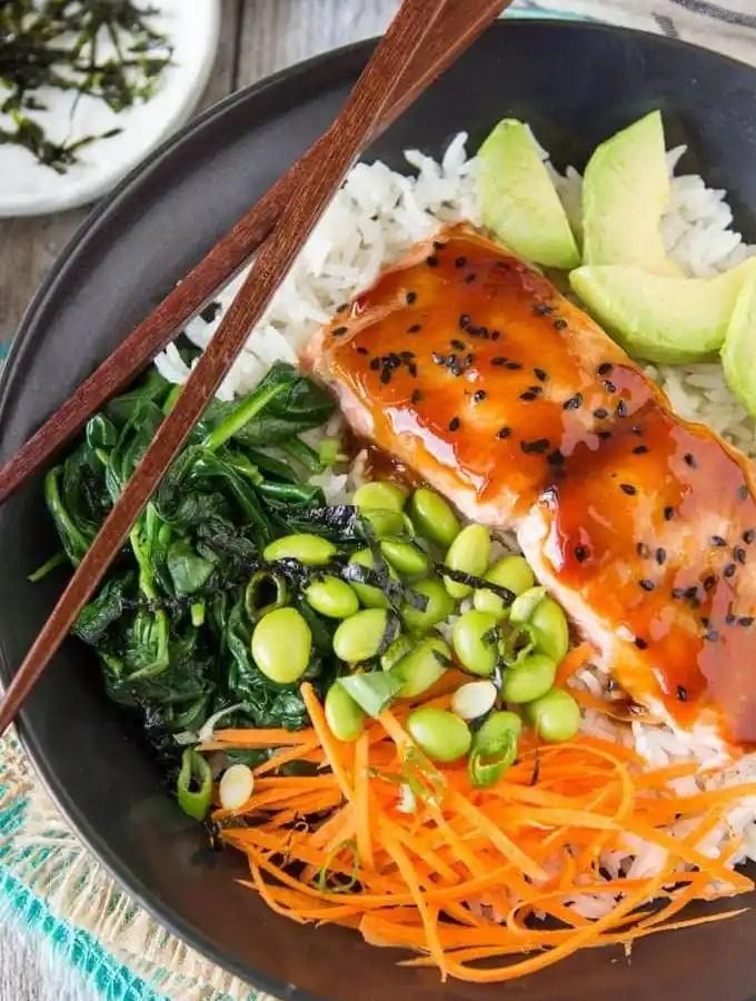 Terriyaki Salmon Bowl |SimpleHealthyKitchen.com