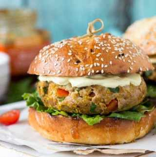Indian Curry Burger | SimpleHealthyKitchen.com