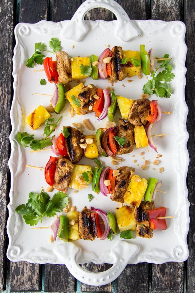 Curried Pork and Pineapple Kabobs