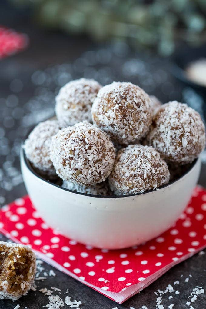 snowball coconut date energy bites featured