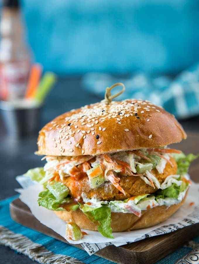 Buffalo Chickpea Veggie Burger {with Ranch Slaw}